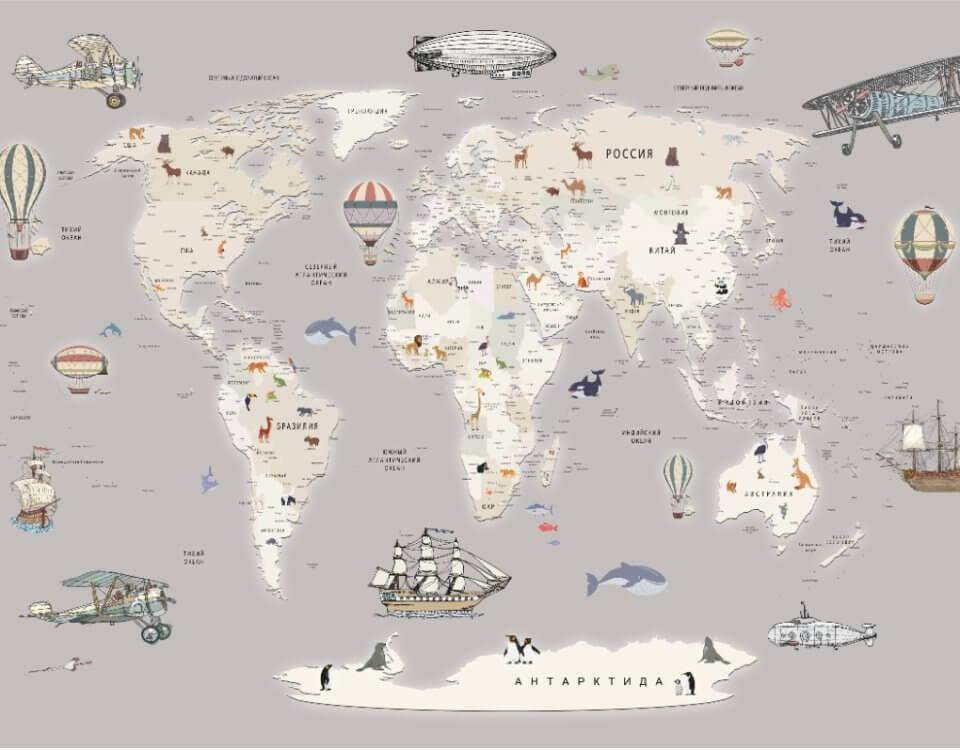 обои карта мира для детской комнаты