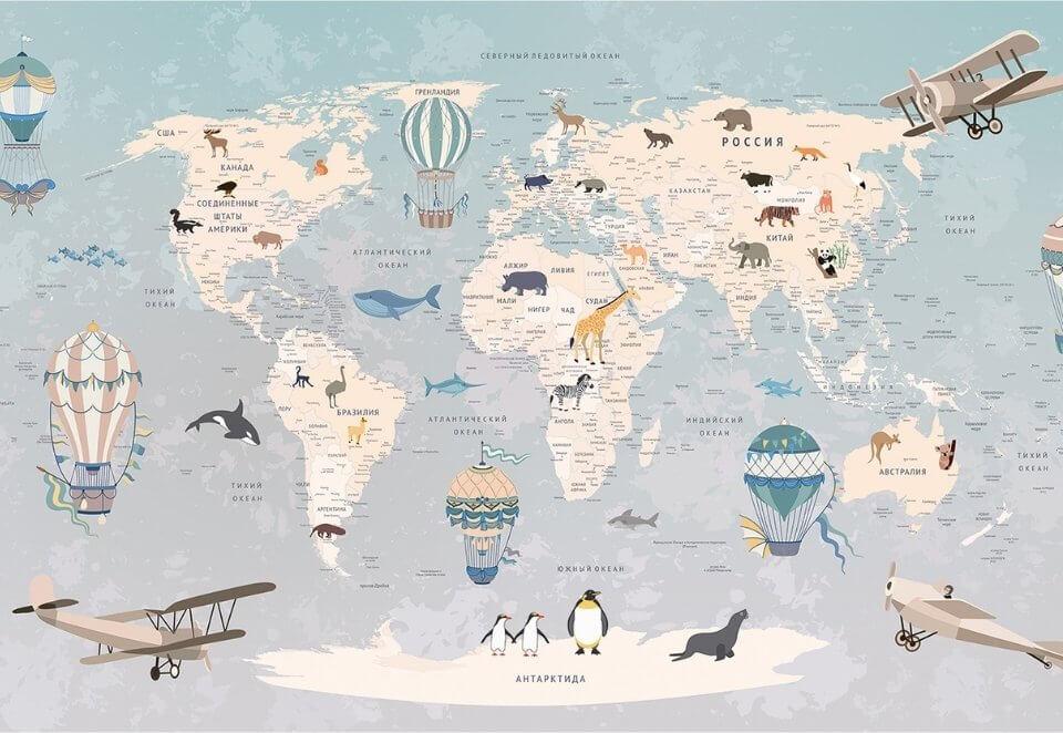 где купить детскую карту мира на стену в детскую по своим размерам