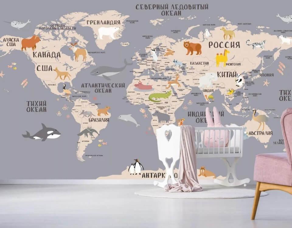 фрески на стену карта мира