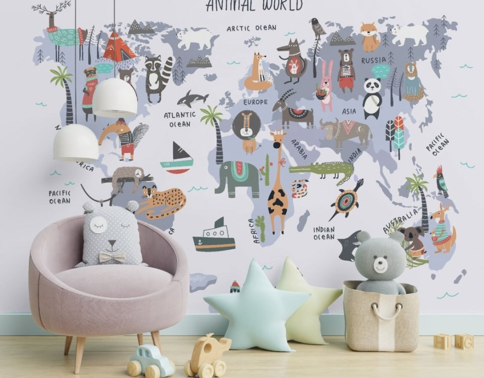 купить детскую карту мира на стену на английском языке. . детские фотообои по своим размерам. Латексная печать. Доставка по миру.