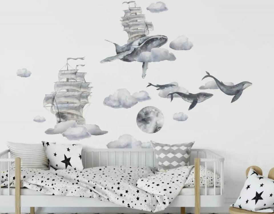 фреска киты. Киты обои на стену. Киты в детскую