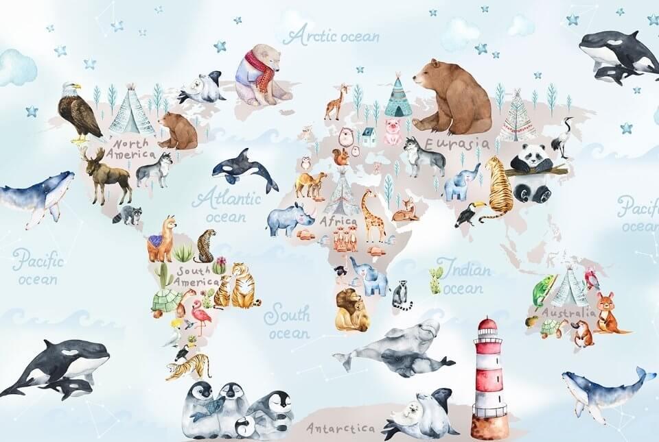 обои карта мира в детскую. детские обои карта мира +с животными