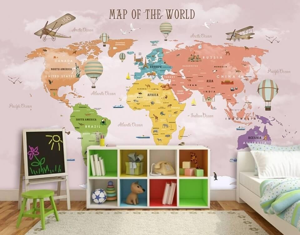 обои карта мира +в детскую.обои +для стен карта +для детской