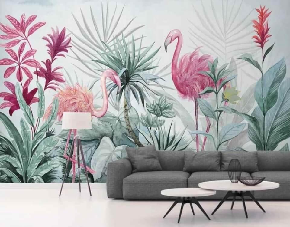 фламинго розовые птицы в тропических листьях пальмы фламинго обои