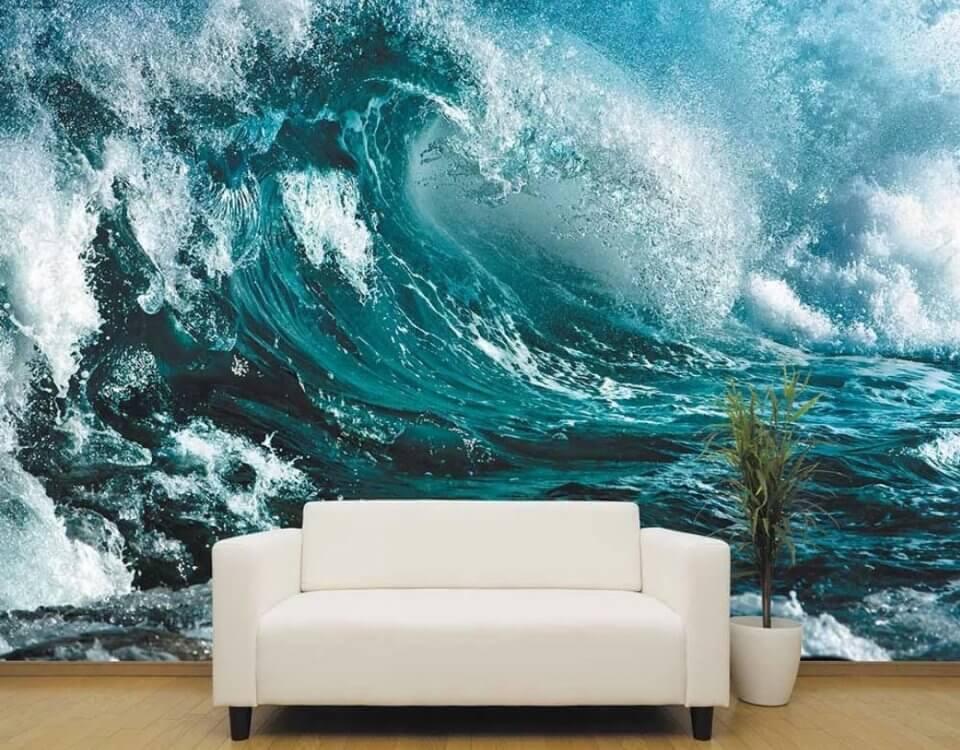 волна синяя на стену обои с волной брызги