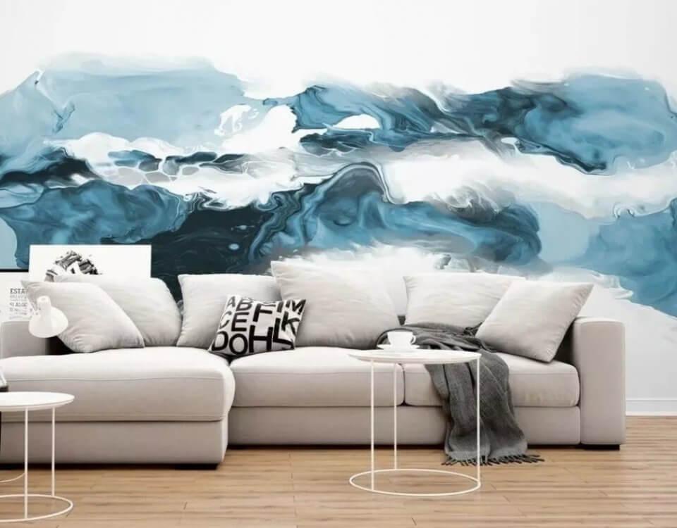 акварель обои синий фон на стену в гостиную