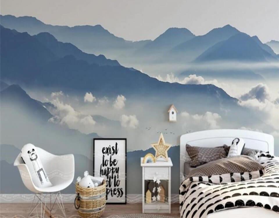 горы в синих тонах обои на стену горы в дымке