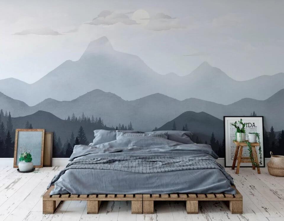 лес на фоне гор в дымке обои с горы на стену