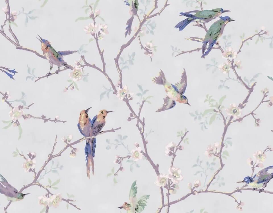 птицы на светлом фоне ветки с птицами обои для интереьре