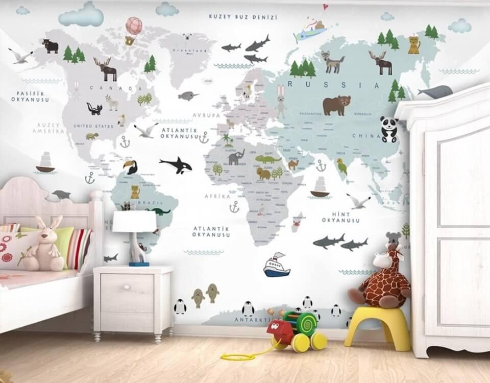 купить фотообои +в спб. Фотообои карта мира.