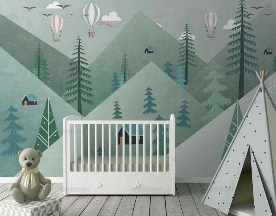 зеленые горы обои для детской с елочками и летящими воздушными шарами