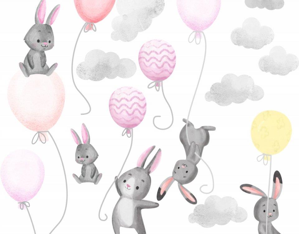 зайчики воздушные шары летящие детские принты обои для стены