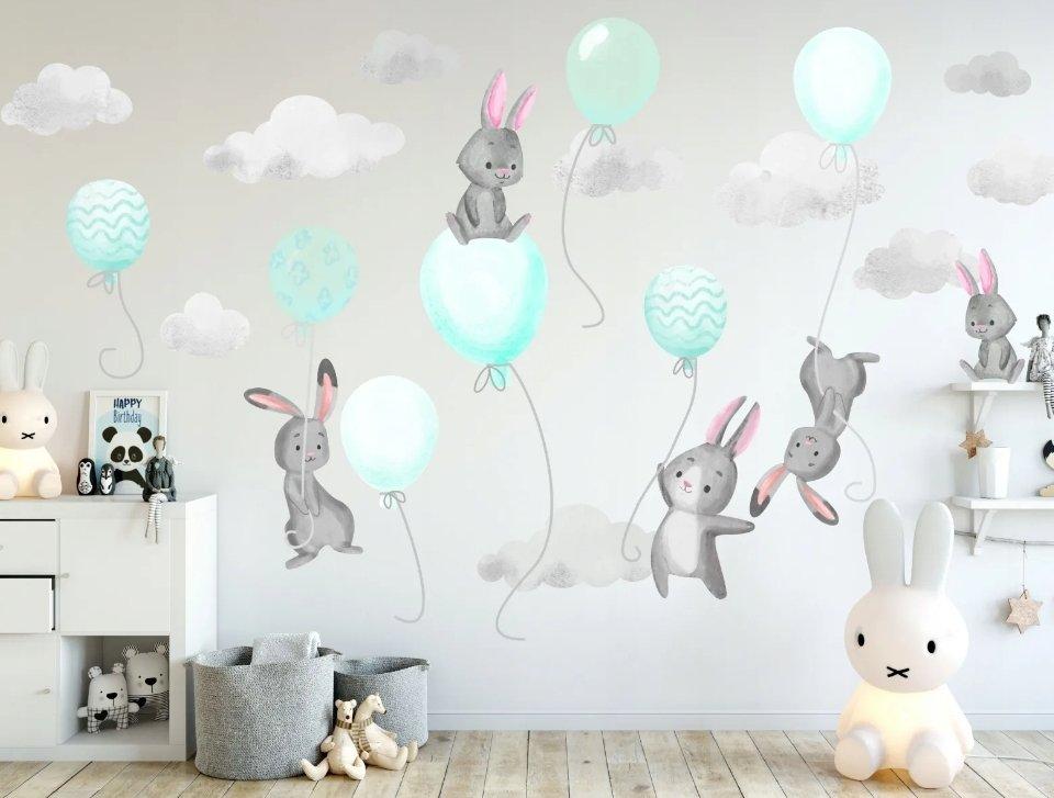 фреска +на стену +в детскую. фотообои воздушный шар.