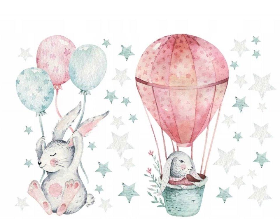 зайцы на воздушном шаре нежные обои для детской
