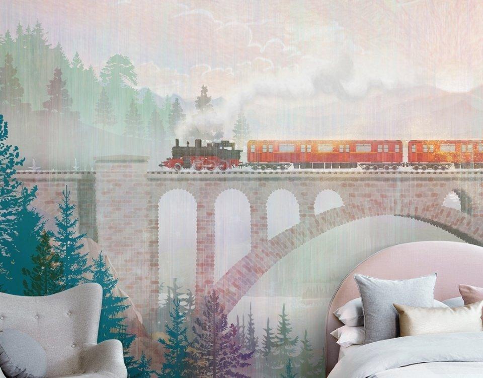 детские обои поезд на мосту на фоне леса