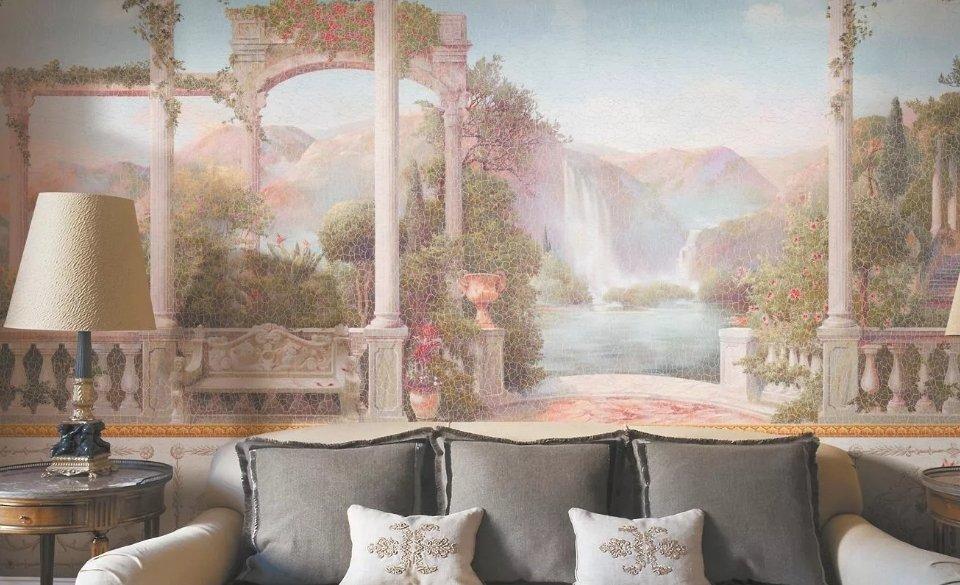 фреска +с водопадом. терраса с видом на водопад