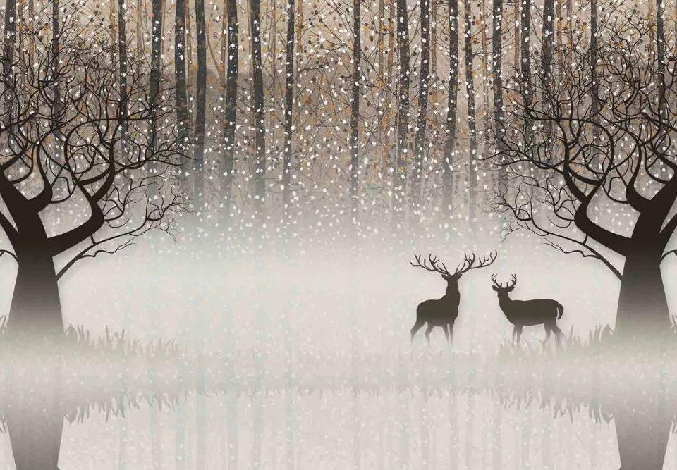 фреска олени в лесу