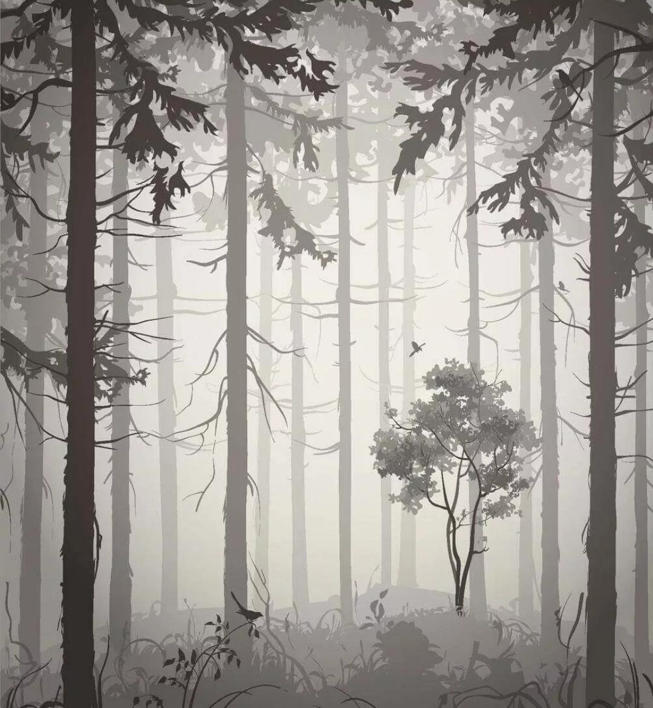 фреска туманный лес