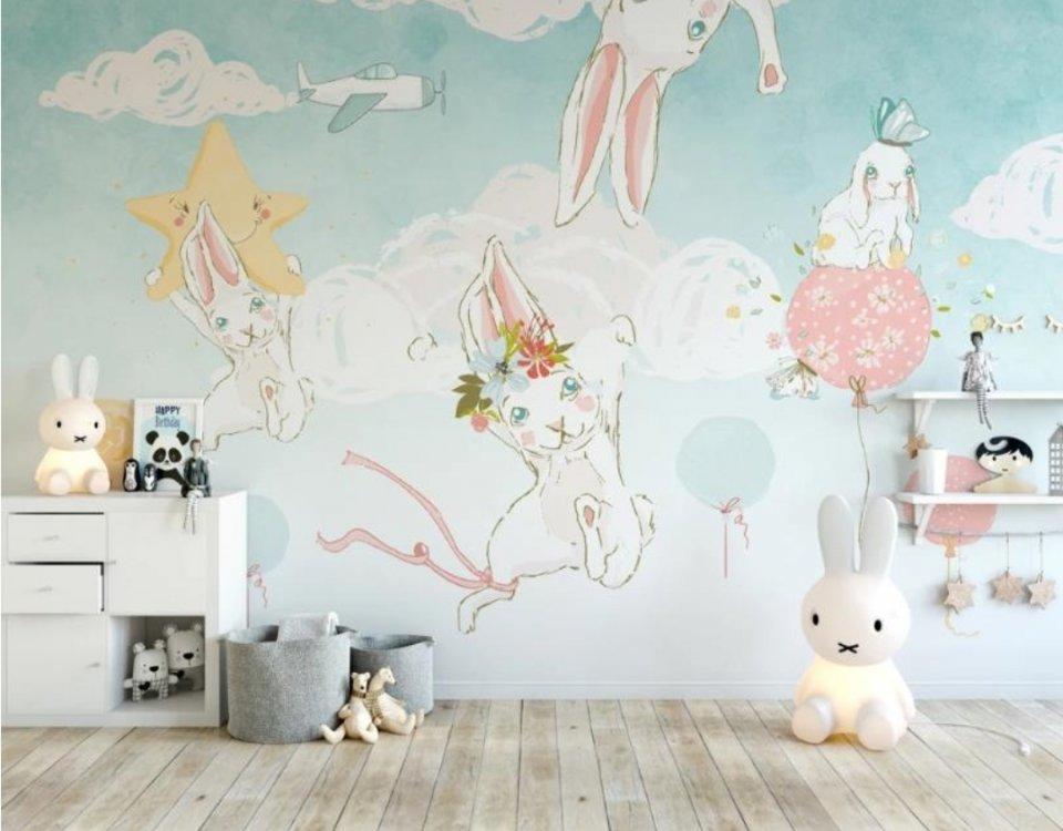 зайчики веселые обои для детской комнаты светлый фон