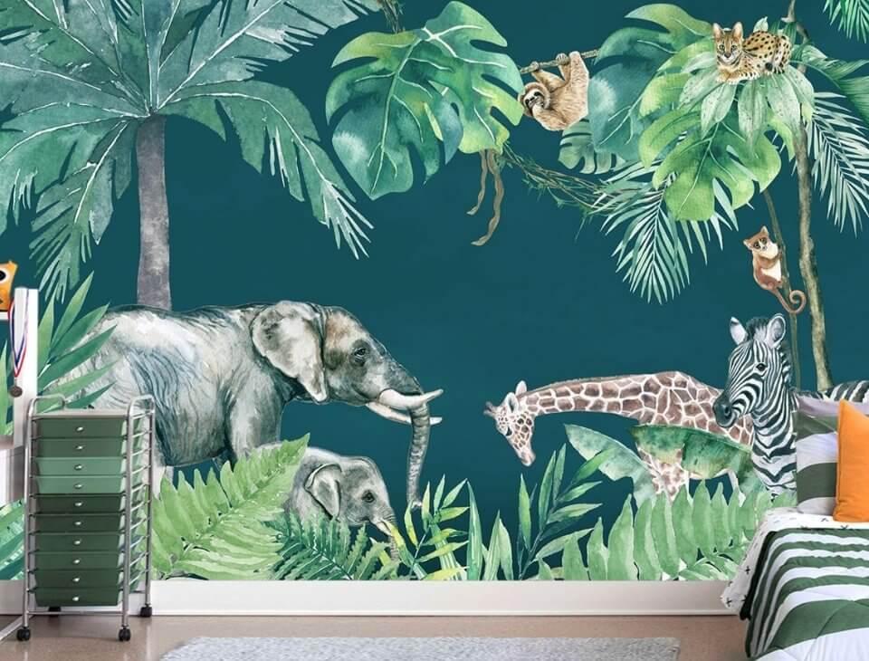 фреска джунгли на стену красивые фрески в детскую
