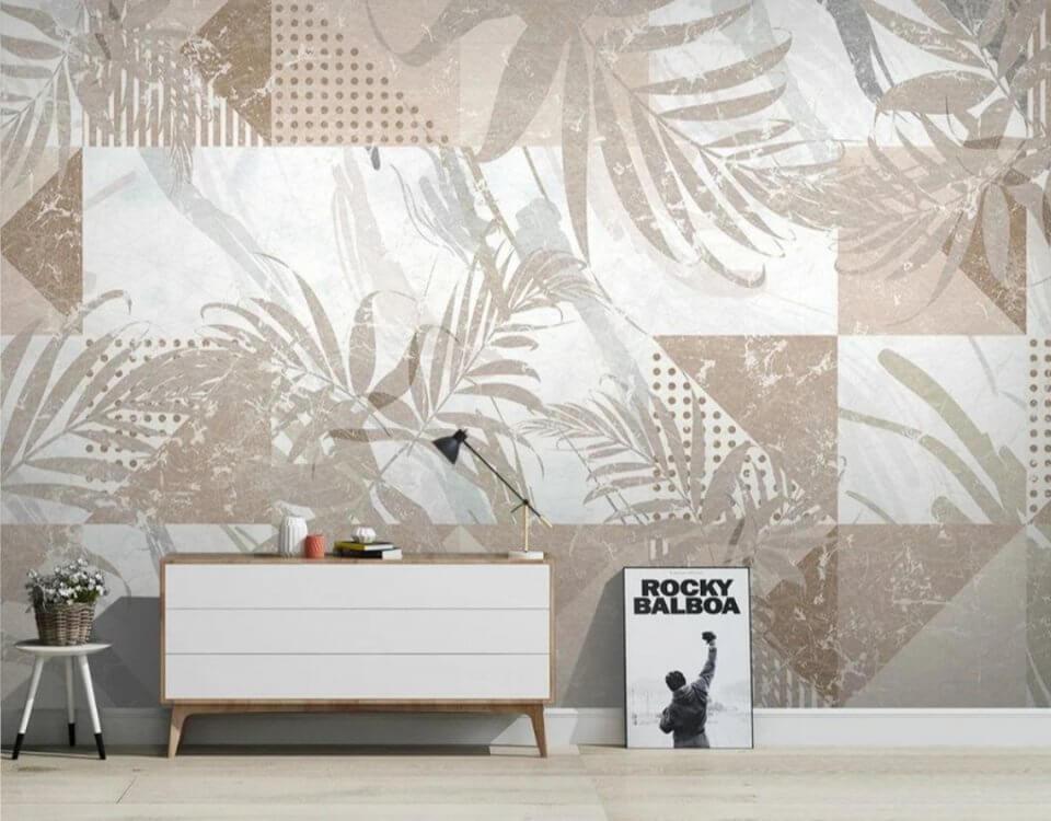 фотообои на заказ. фотообои геометрия принт с пальмовыми листьями