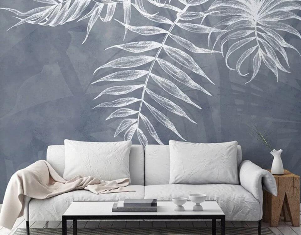 белые тропические ветви на сером фоне обои в стиле лофт
