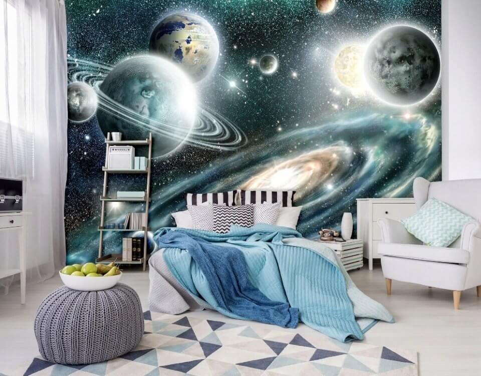 космос для детской комнаты обои с планетами луна обои