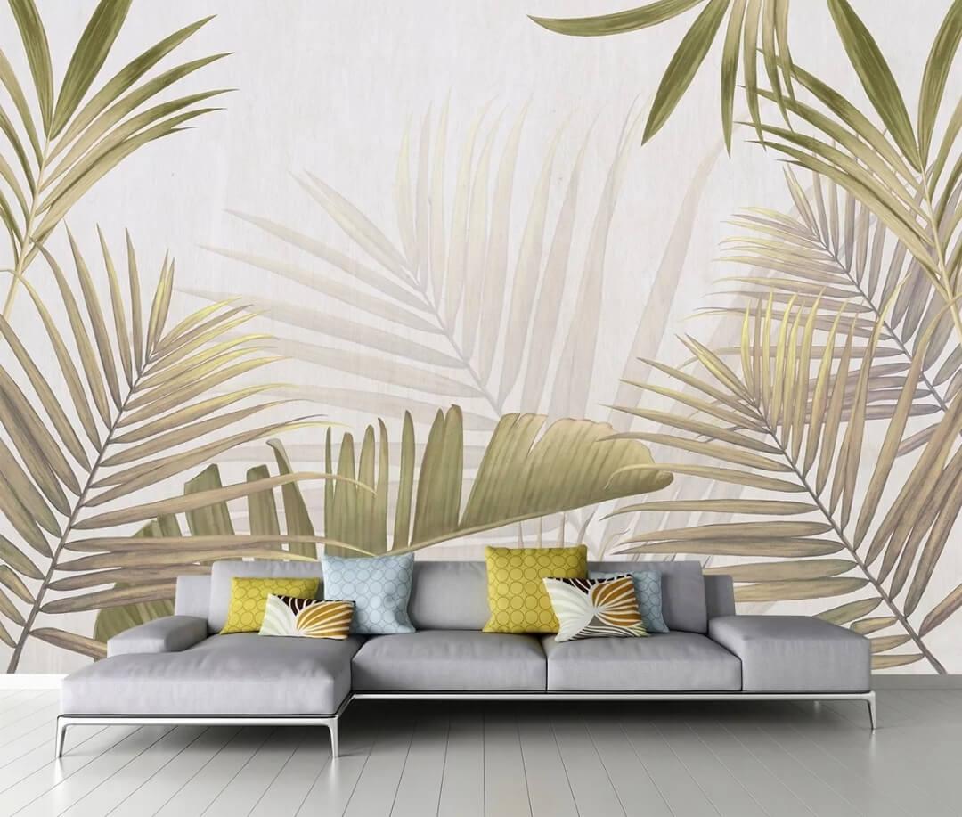 крупные пальмовые ветви золотистые ветви банановых листьев