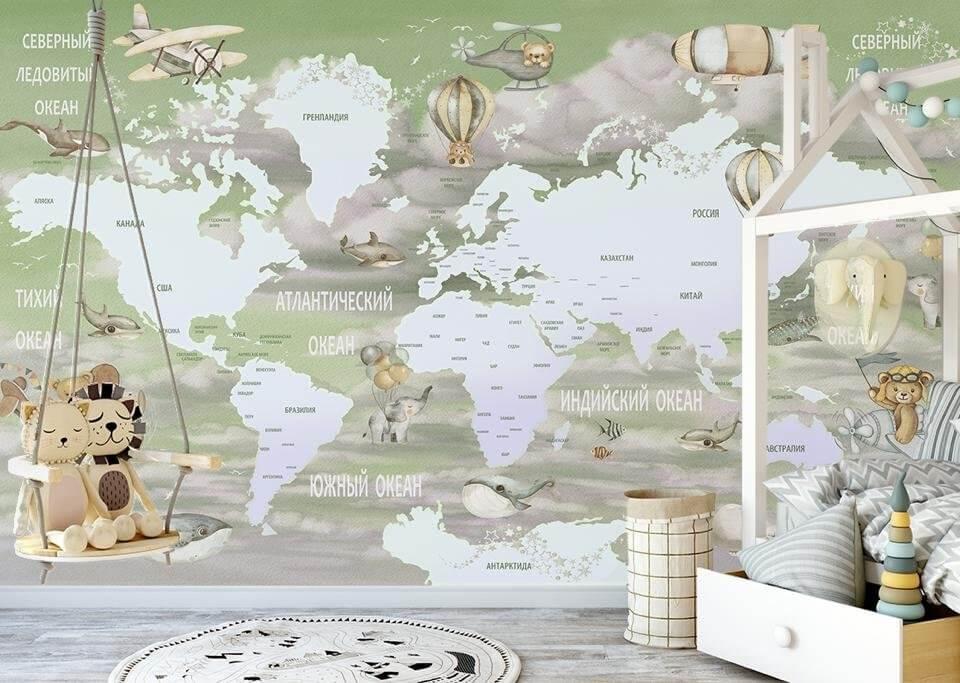купить детскую карту мира казахстан. латексная бесшовная печать. Большая коллекция изображений. Доставка до двери.
