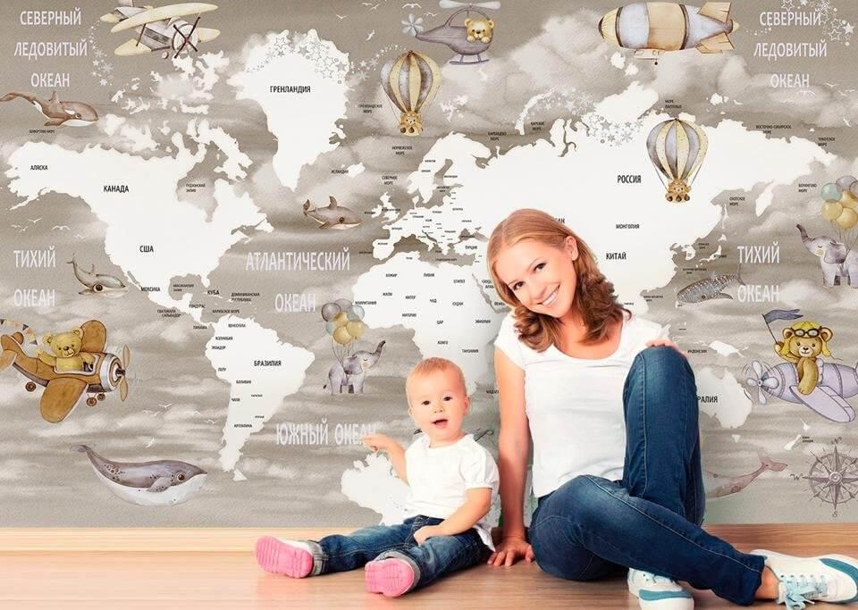 Фрески карта мира для детских комнат. Бесшовные флизелиновые обои для детских. Без швов и стыков. Обои для легкого монтажа. Латексная безопасная печать. Доставка по миру.