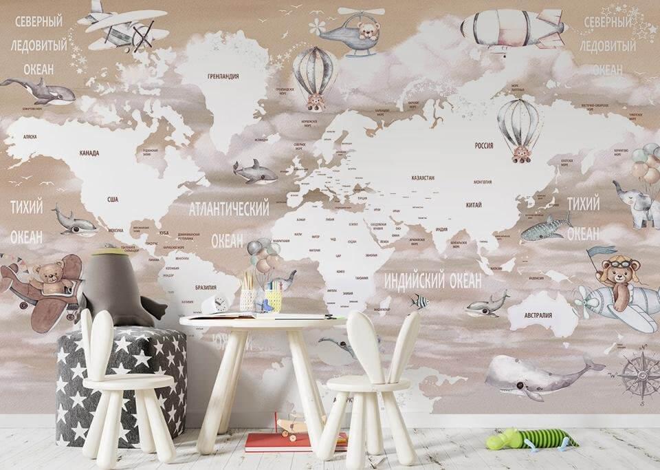 детские фотообои для стен в детскую комнаты. принты карта мира для стен. Латексная печать. Доставка город Грозный. Страховка. Гарантия качества.
