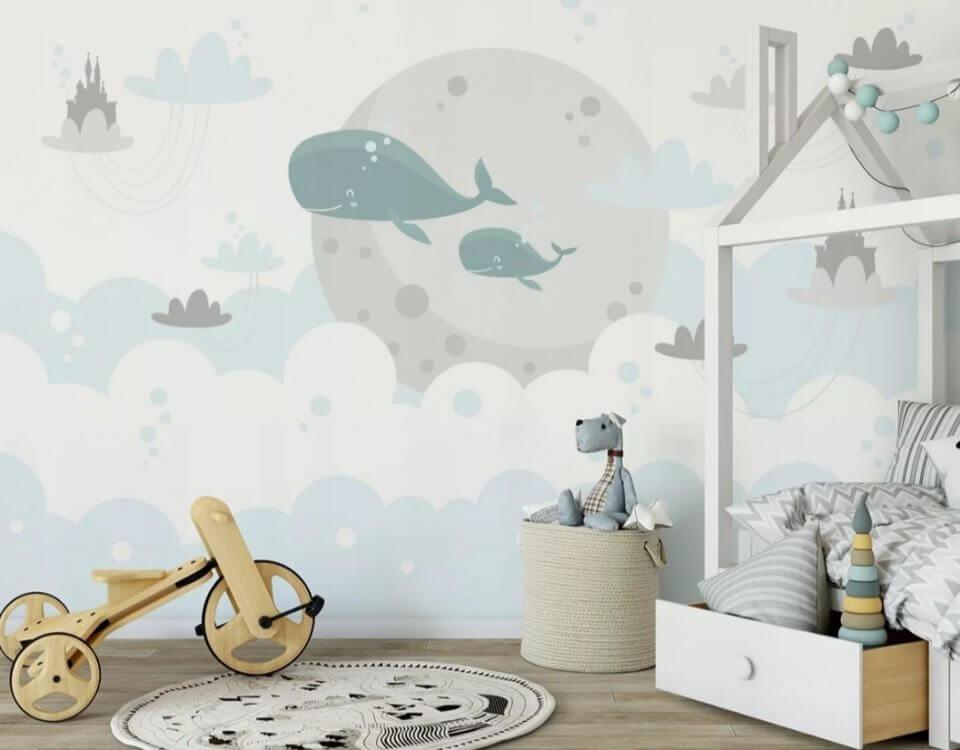 обои +с китами +в детскую. Бесшовные фрески в детскую. Принт с китами для стен.
