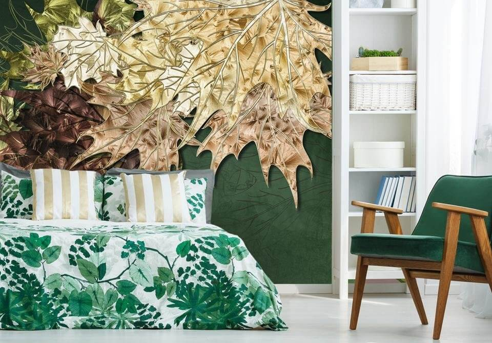 фрески с листьями. обои фрески на стену купить