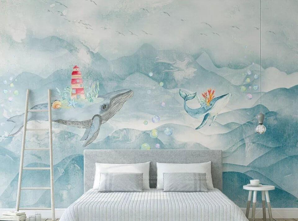 фотообои киты на стену. Фрески киты плывущие в облаках