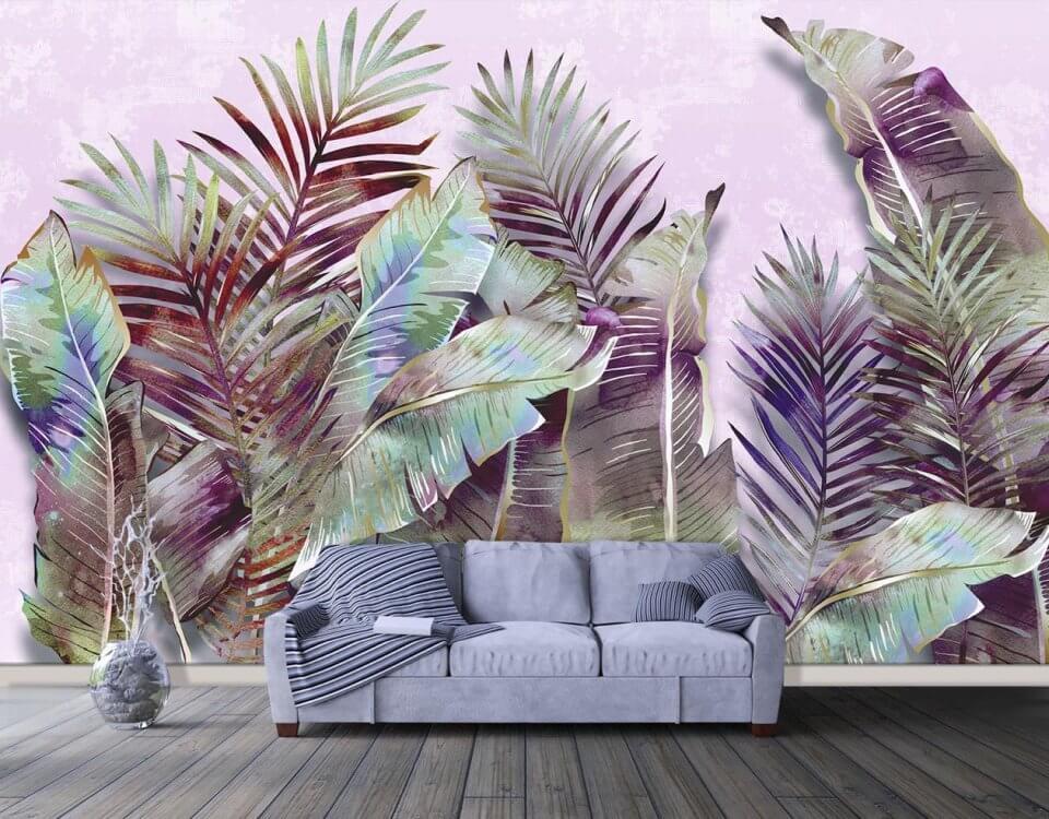 фотообои листья. купить фреску на стену в москве. купить фреску в волгограде