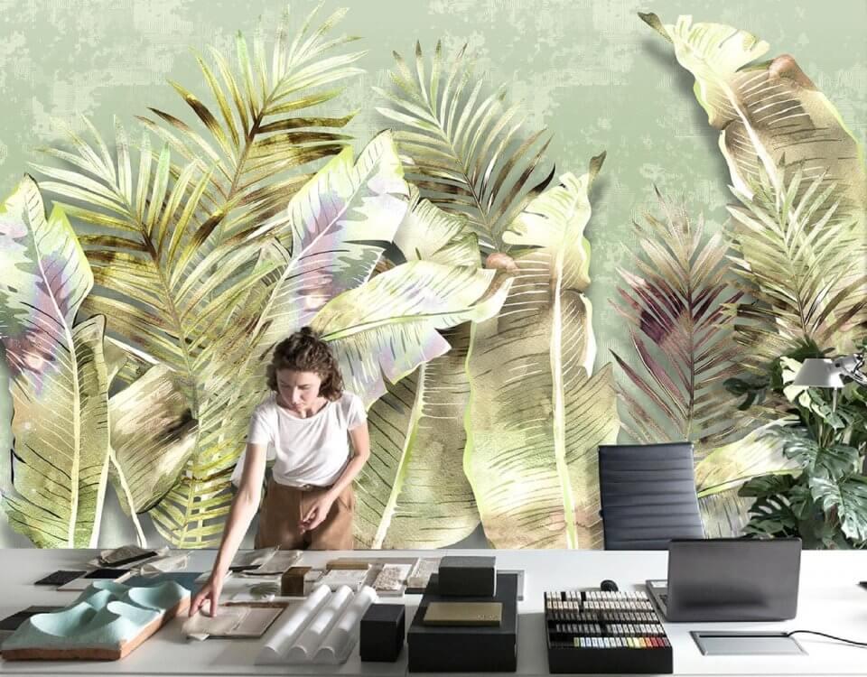 фотообои листья +в интерьере