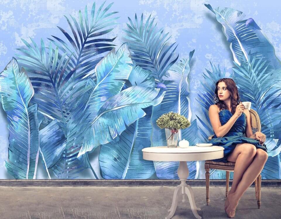 тропические листья от пола красивый тропический принт на стену