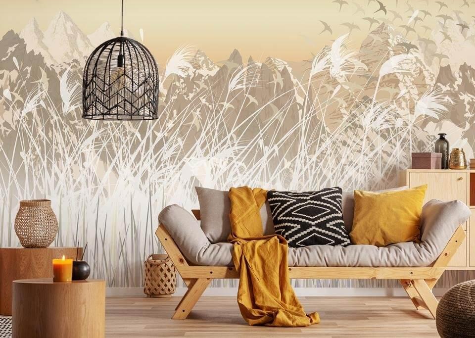 фреска полевые цветы. фреска на стену купить в спб