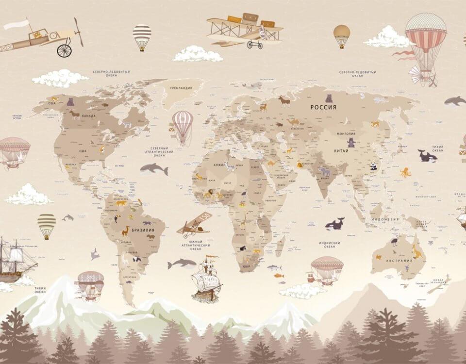 купить бежевую карту мира на стену в детскую. фотообои для детей. необычная карта мира. Карта в детскую