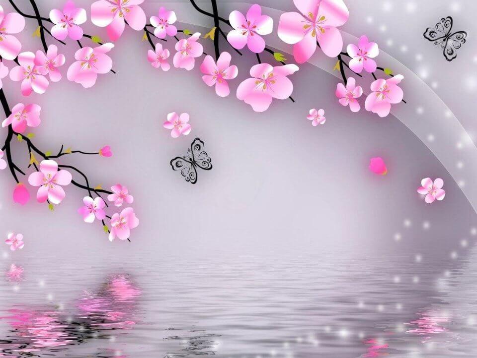 фотообои сакура. розовые цветы сакуры. 3d обои сакура