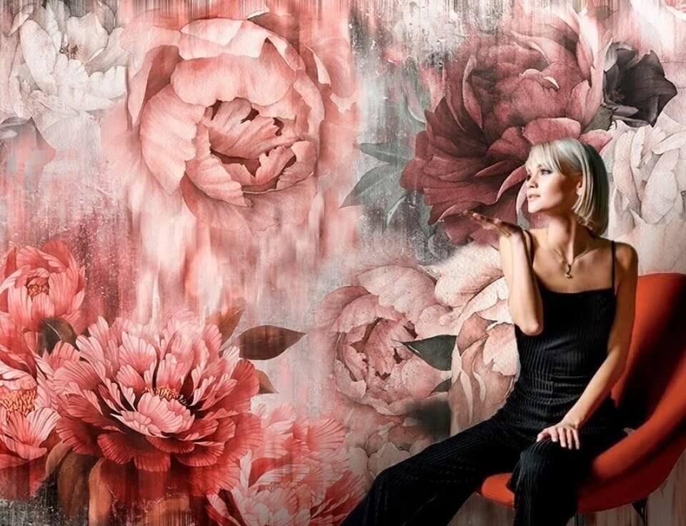 купить обои фрески. фотообои цветы. пионы на ярком фоне. красные цветы