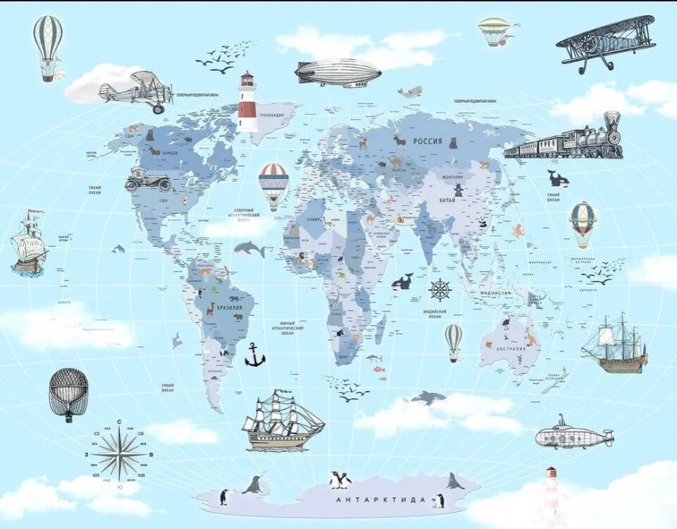 купить фотообои карта мира на стену. фотообои карта мира +на русском языке