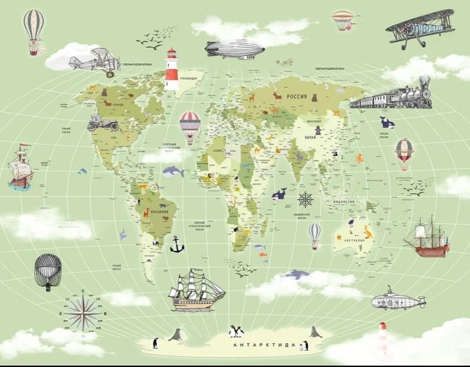 географическая карта для детской комнаты. обои по своим размерам