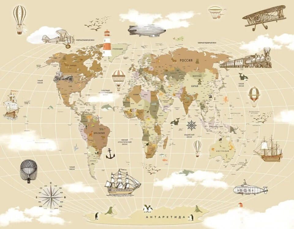 фотообои карта мира купить +в нижнем новгороде