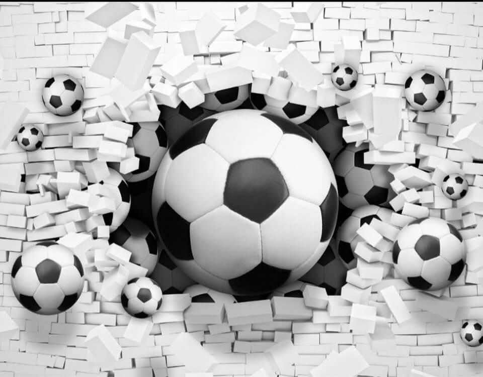 трехмерные обои для стен фотообои футбольный мяч спорт обои расширяющие пространство