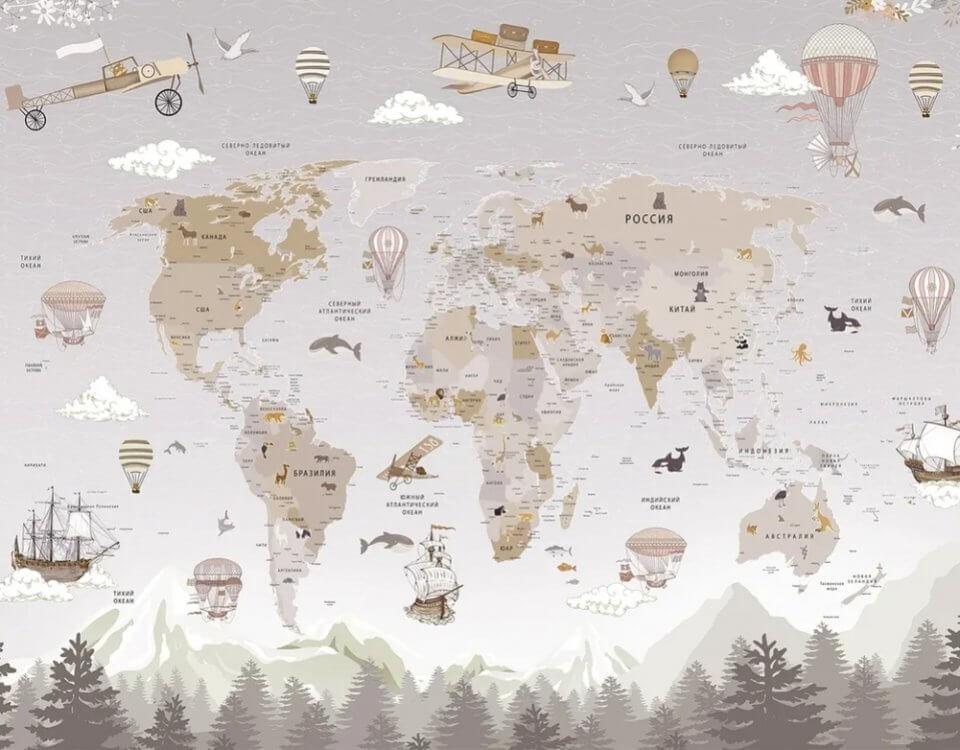 фотообои карта мира русская