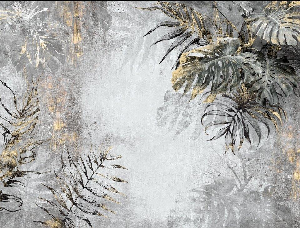 ветви пальмы на сером мраморном фоне темные ветви тропики с золотом