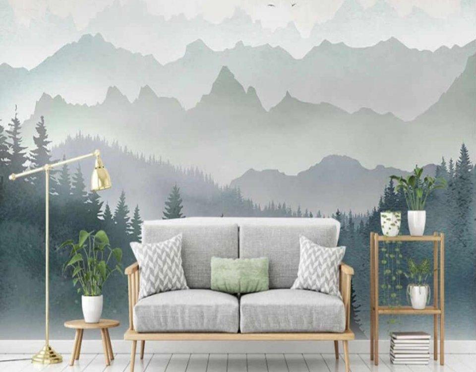 лес на фоне гор зеленые обои на стену с красивыми горами