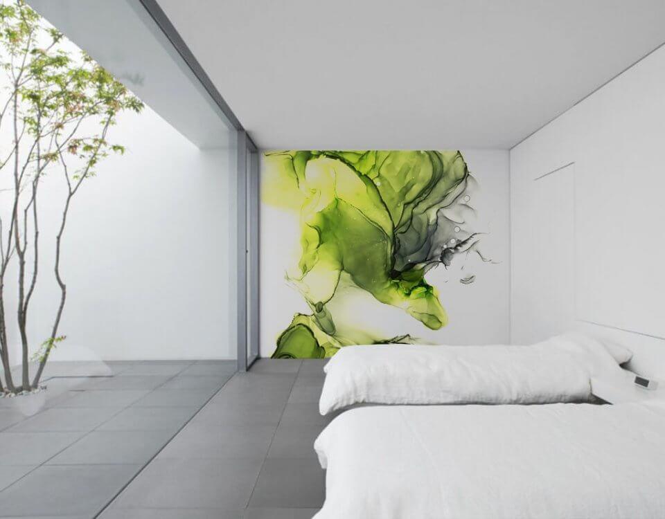 фотообои акварель. фотообои акварель на стену. зеленый акварельный принт