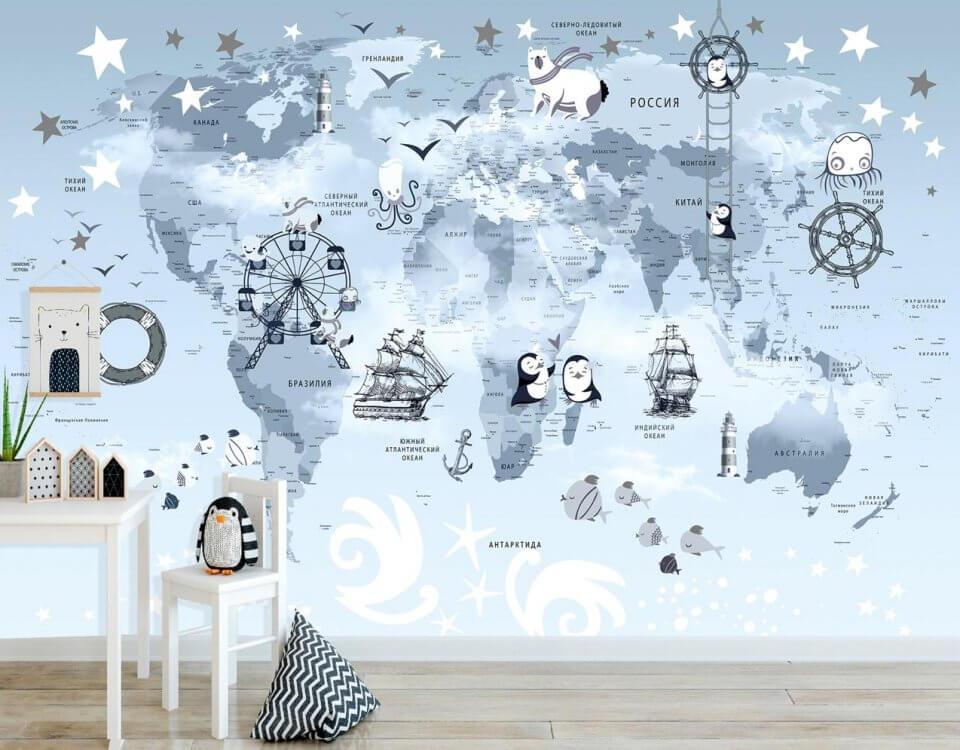 серая карта мира. бесшовная детская карта. напечатать детскую карту по своим размераам